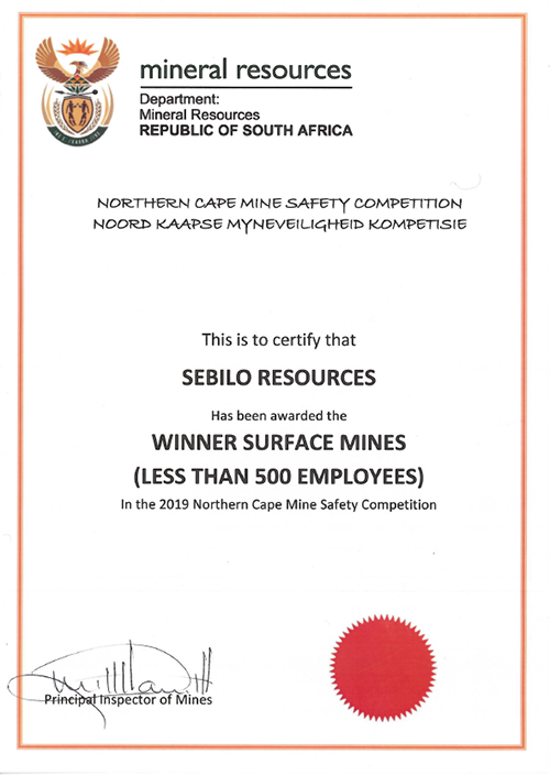 Winner surface mines (less than 500 employees) [award]